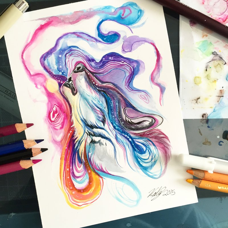 07-Spirit-Wolf-Katy-Lipscomb-Lucky978-Fantasy-Watercolor-Paintings-Colored-Pencils-Drawings-www-designstack-co