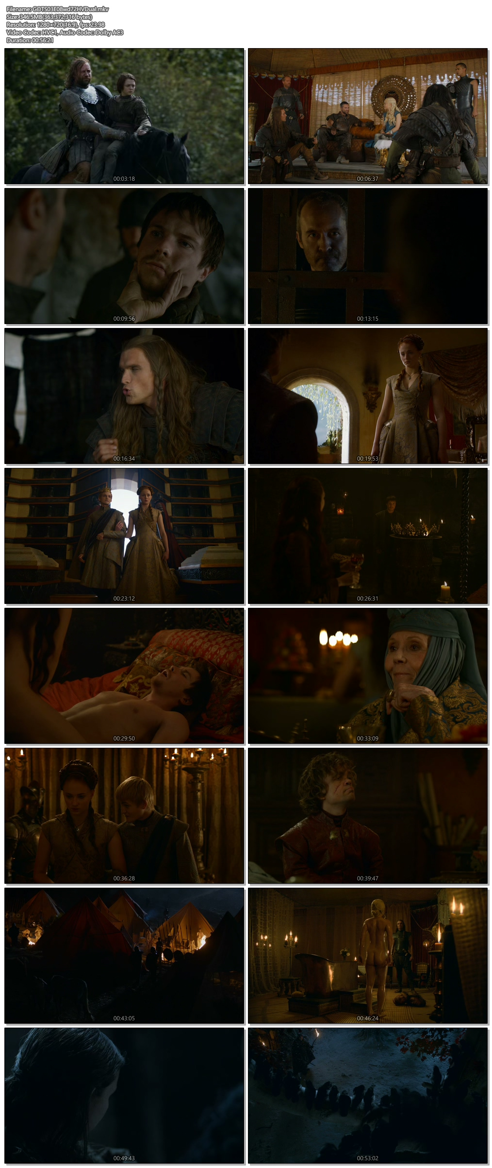 Screenshots Of Hindi Dubbed Show Game of Thrones 2013 Season 03 Episode 08 300MB 720P HD