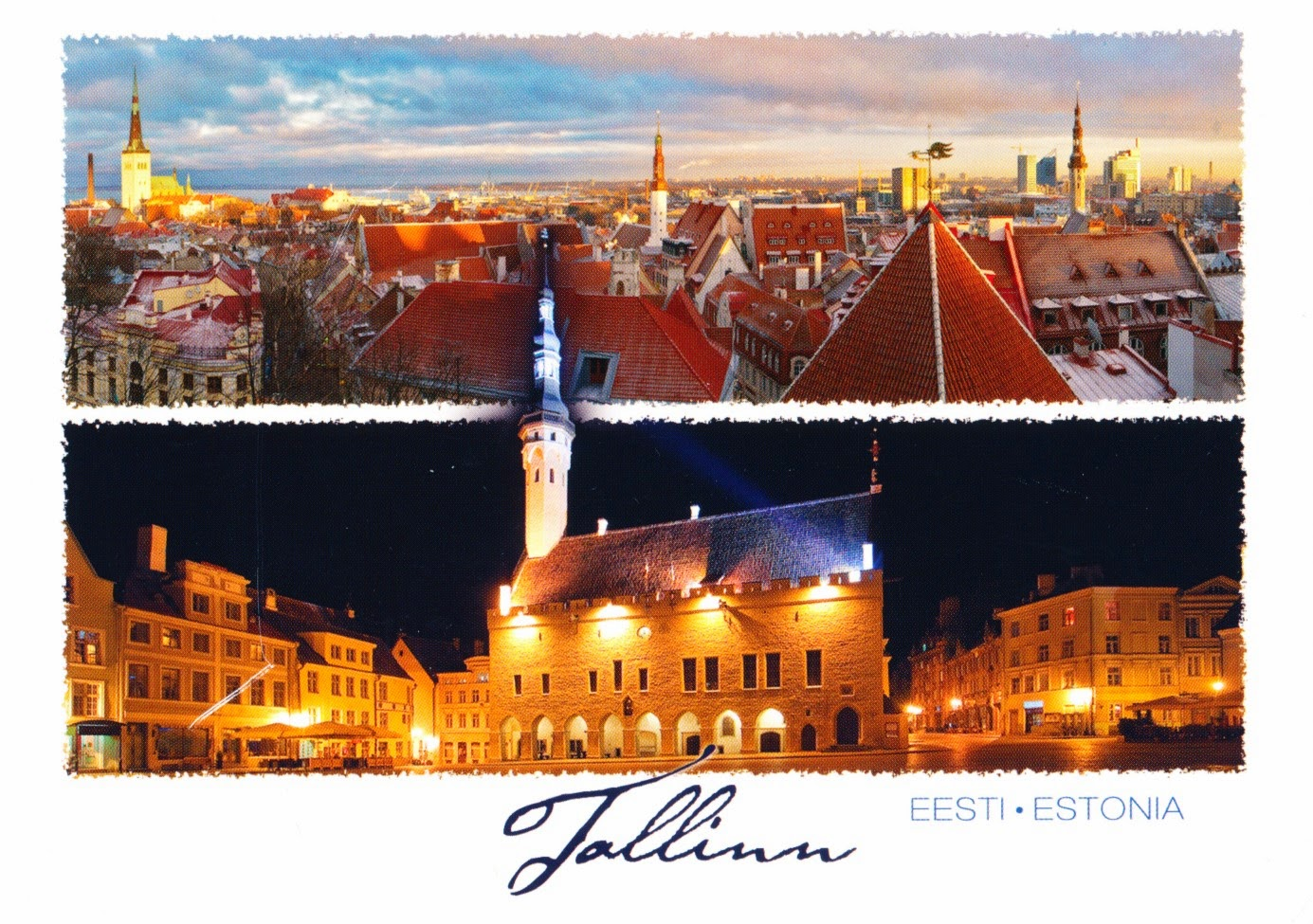 postcard, tallinn, town hall, church of the holy ghost, old town