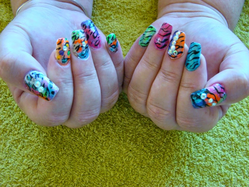 French-acrylic-nails-bling-single-double-triple-rainbow-colors-toe-nail-zebra-tiger-cougar-cheetah-metallic-pearls-mixed-zebra-stripes-natural-nail
