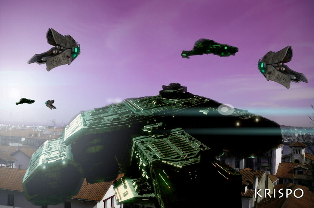 naves espaciales sobrevuelan los tejados de hondarribia