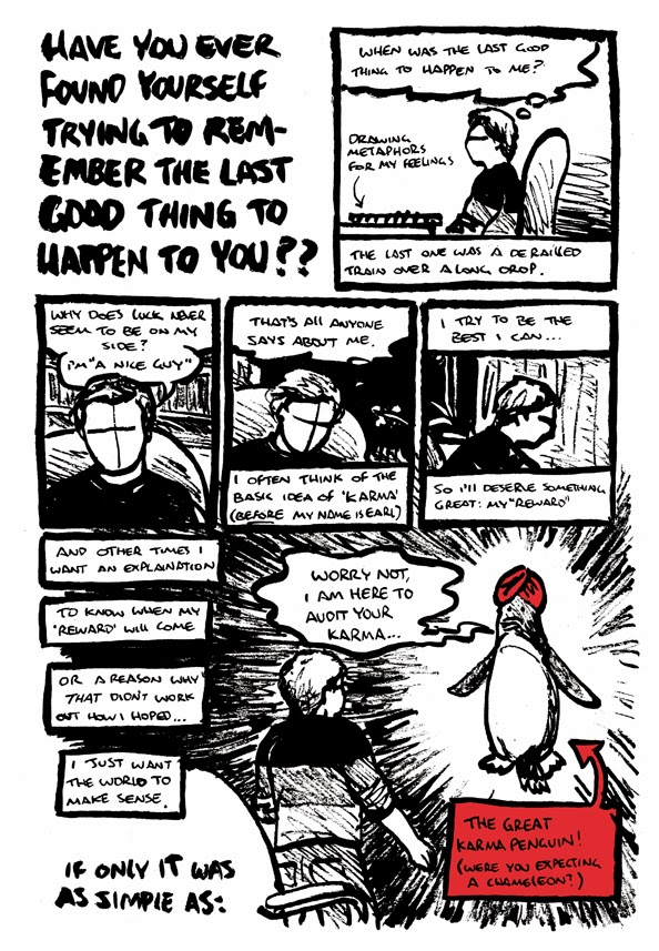 Post Conatus comic strip about bad luck featuring the karma penguin, part one, by Alex Hahn