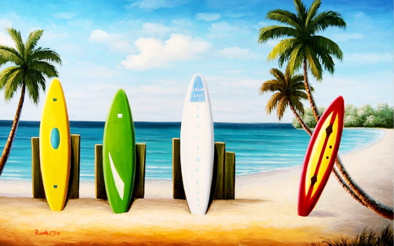 Im genes arte pinturas paisajes con palmas y tablas de surf - Tablas de surf decorativas ...