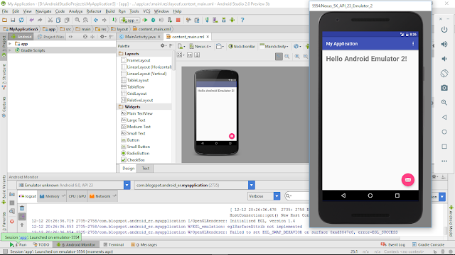 Create Avd Using Novel Android Emulator Inward Android Studio 2.0 Preview