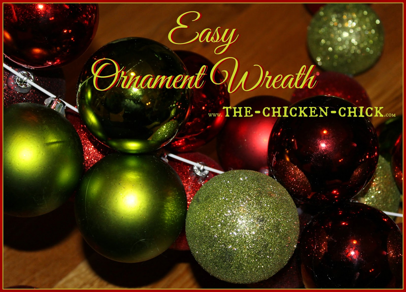This ornament wreath is undoubtedly the easiest and one of the most inexpensive holiday wreaths I've ever made. I can be constructed with dollar store plastic ornaments or an eclectic collection of mis-matched ornaments from Christmases past.