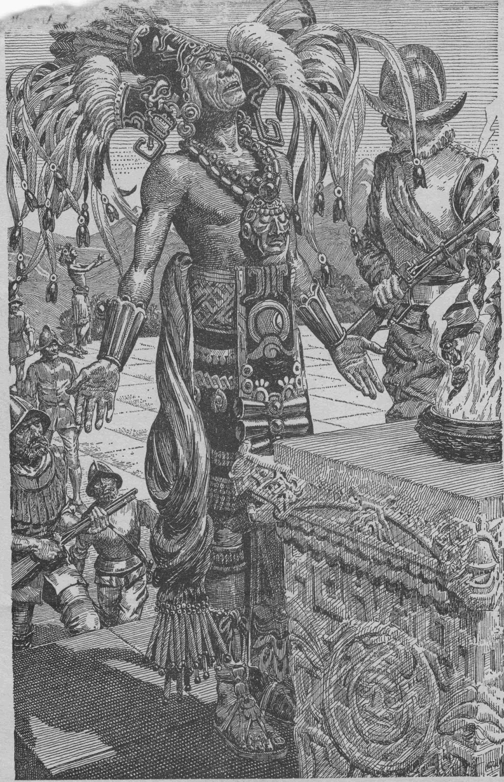 Illustration of Mayan priest in Adventure magazine