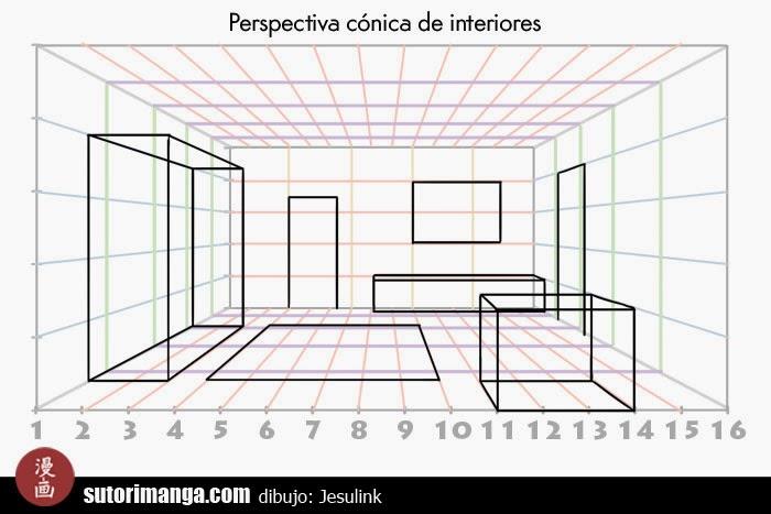 Sutori dibujo de escenarios 3 perspectiva de interiores - Habitacion en perspectiva conica ...