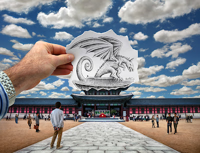 Pencil Vs Camera 76 with Dragon by Ben Heine at Gyeongbokgung Royal Palace in Seoul, South Korea