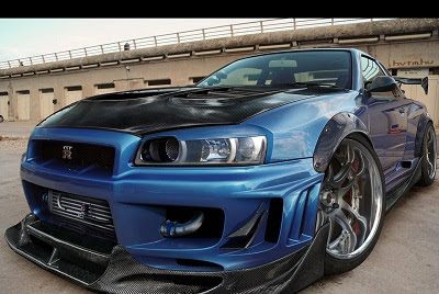 Blue color nissan skyline Wallpaper