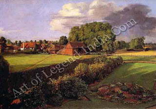 East Bergholt, A detail from Golding Constable's Flower Garden (1815) shows a view from the back of the family house. Constable was the first English artist to paint barns and out-houses with such careful attention.