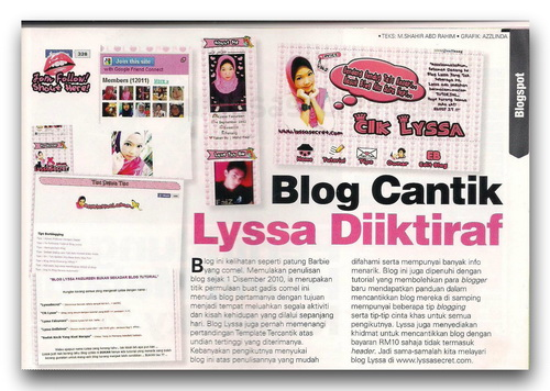 Bila Blogger Masuk Majalah (3) - Lyssa Faizureen