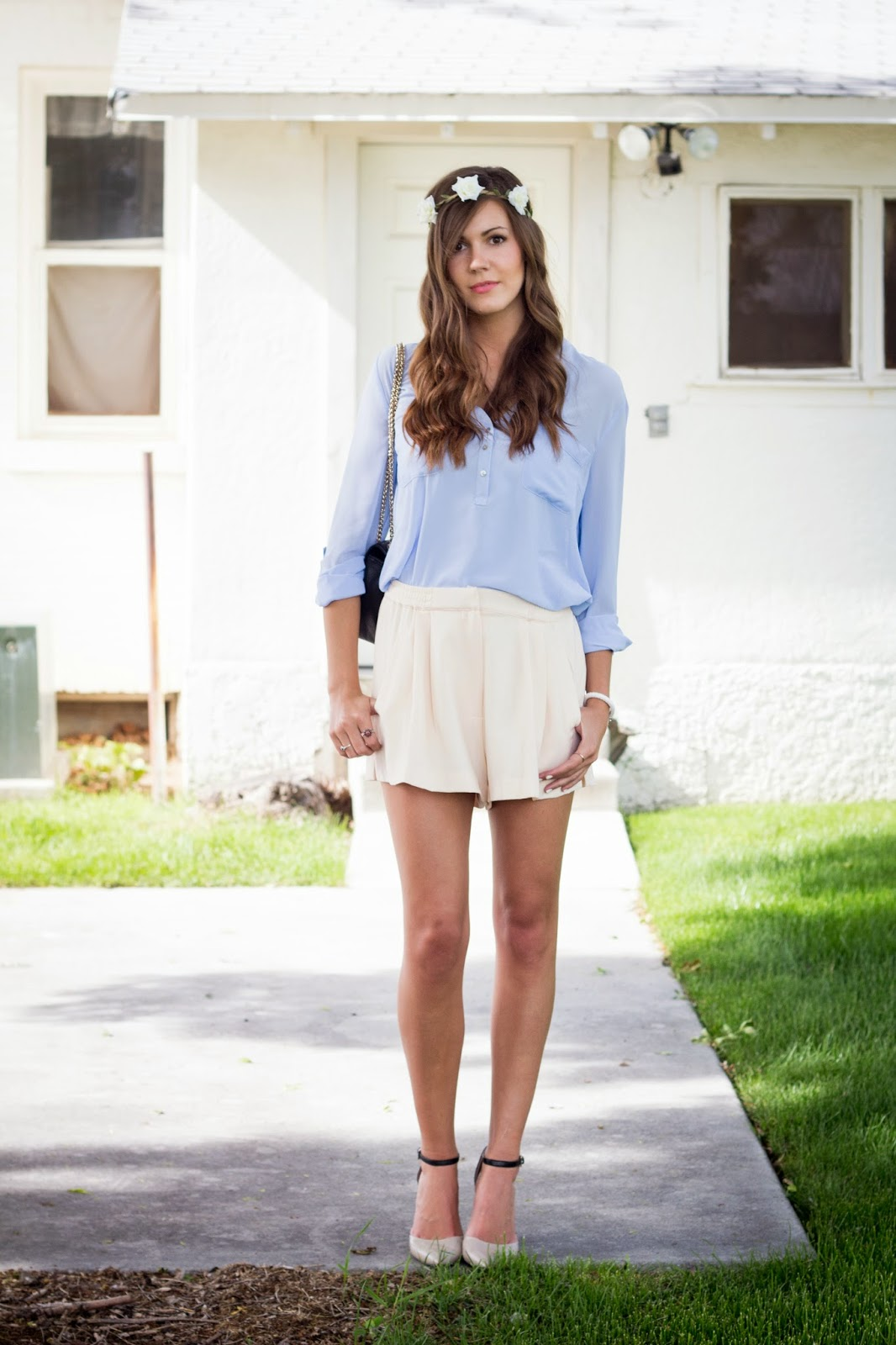 Baby Blue Shorts Outfit