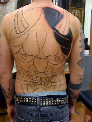 Jeb maykut flyrite tattoo hannya mask back piece for Mf doom tattoo