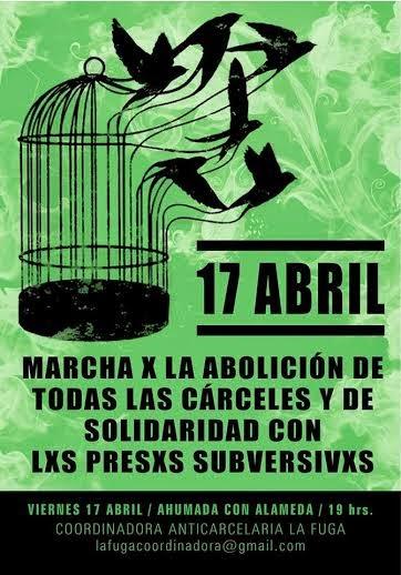 SANTIAGO CENTRO: MARCHA POR LA ABOLICIÓN DE TODAS LAS CARCELES Y DE LA SOLIDARIDAD CON LXS PRESXS