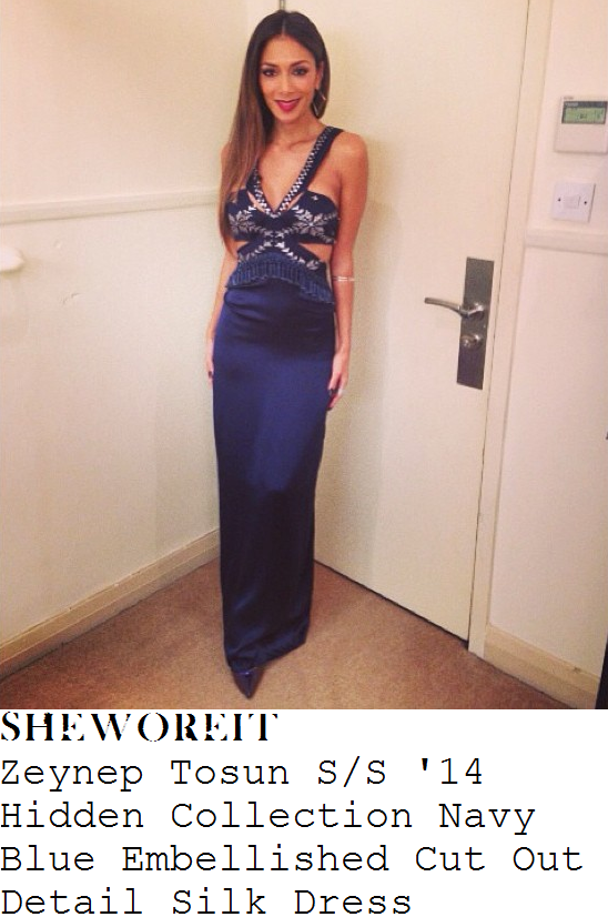 nicole-scherzinger-navy-blue-silver-bead-embellished-sleeveless-v-neck-cut-out-detail-silk-dress-x-factor-birthday-week-results-show