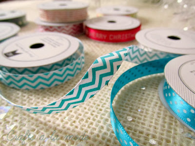 blue stripes and dots ribbon