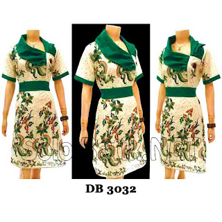 DB3032 - Model Baju Dress Batik Modern Terbaru 2013