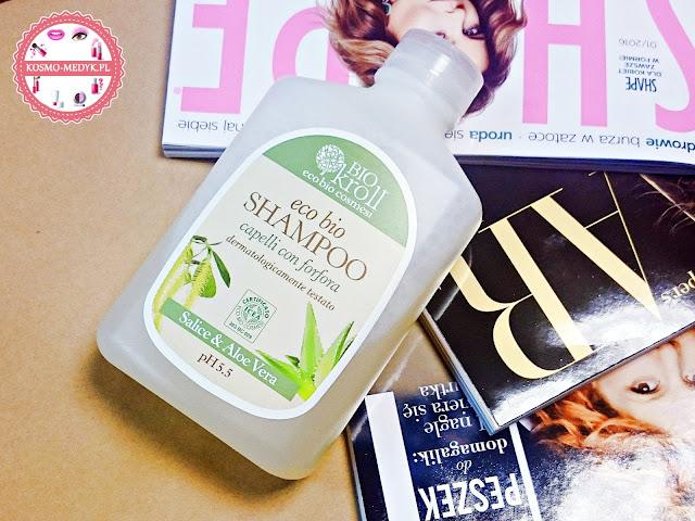 Biokroll, szampon przeciwłupieżowy z aloesem i korą wierzby białej.