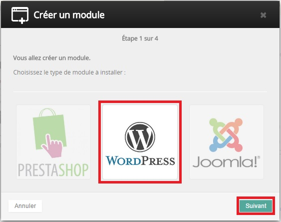Installation du module WordPress sur OVH