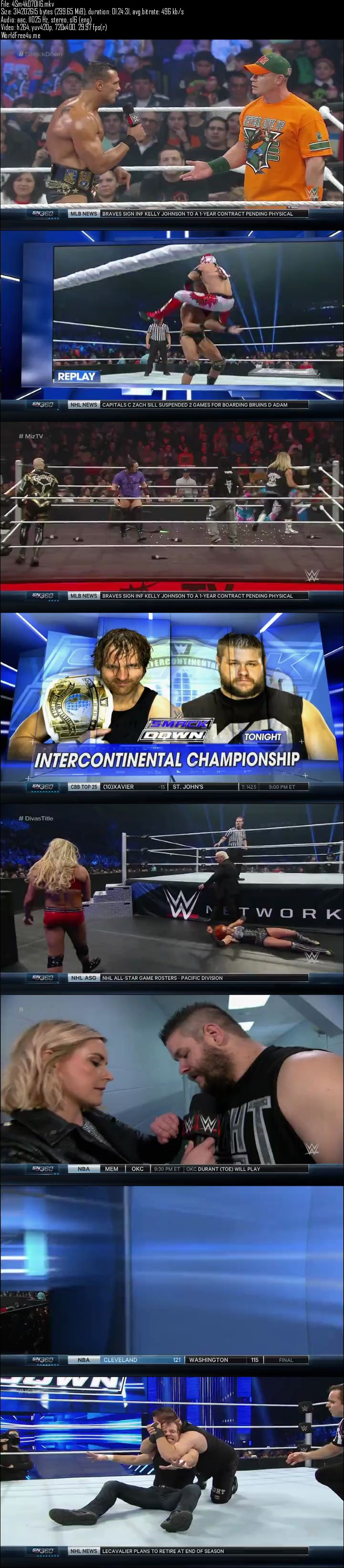 Screen Shot Of WWE SmackDown 7th January 2016 275MB HDTV 480P Free Download Watch Online