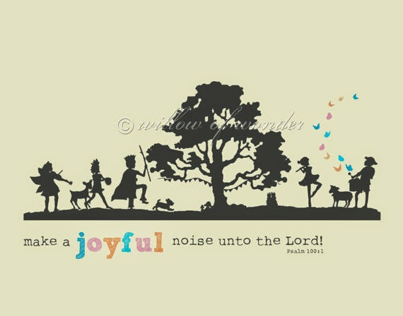 make a joyful noise unto the Lord Scripture art print by willowofwonder