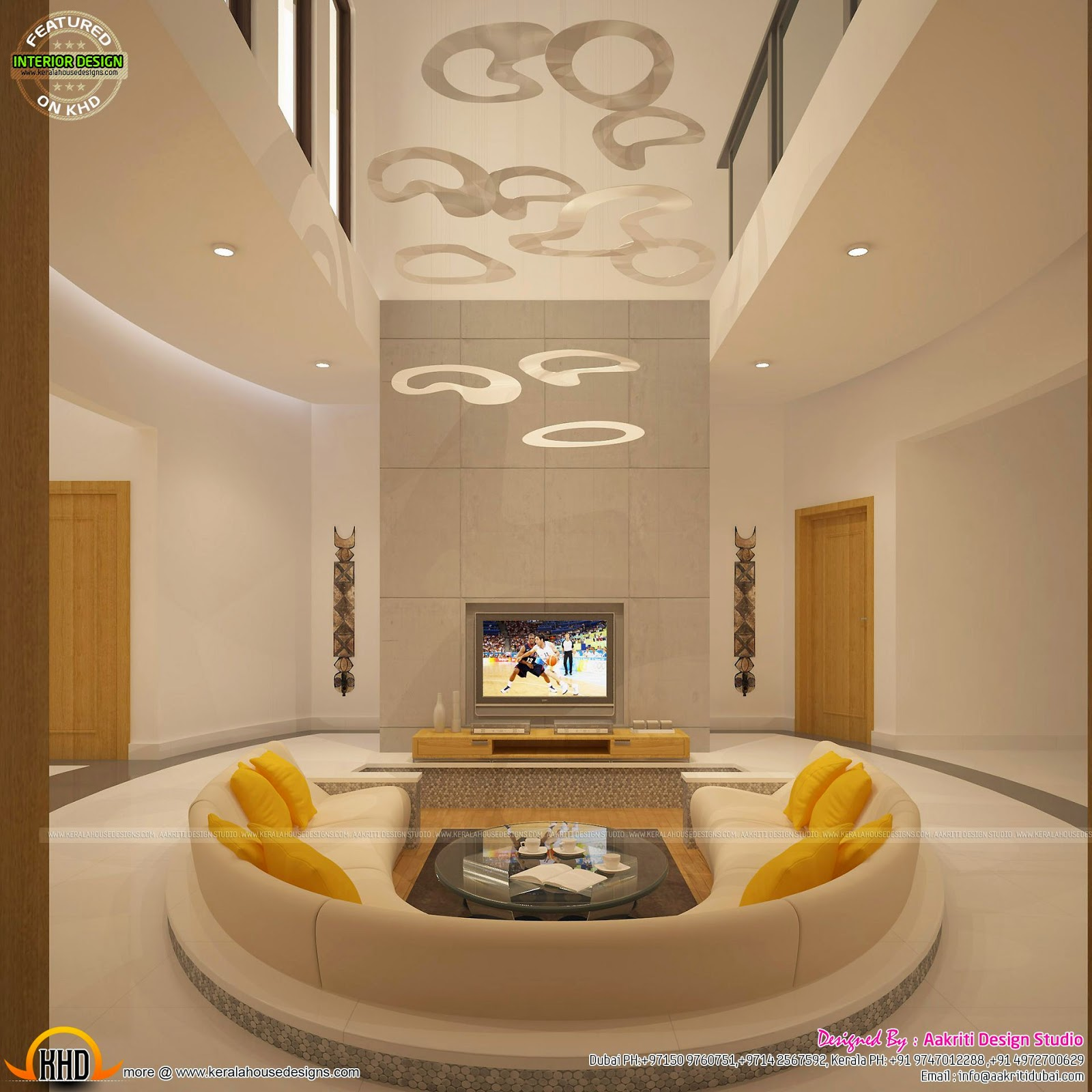 Awesome Interiors Of Living Kitchen And Bathroom Kerala