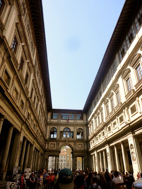 Exterior of the Uffizi art gallery in Florence, Italy