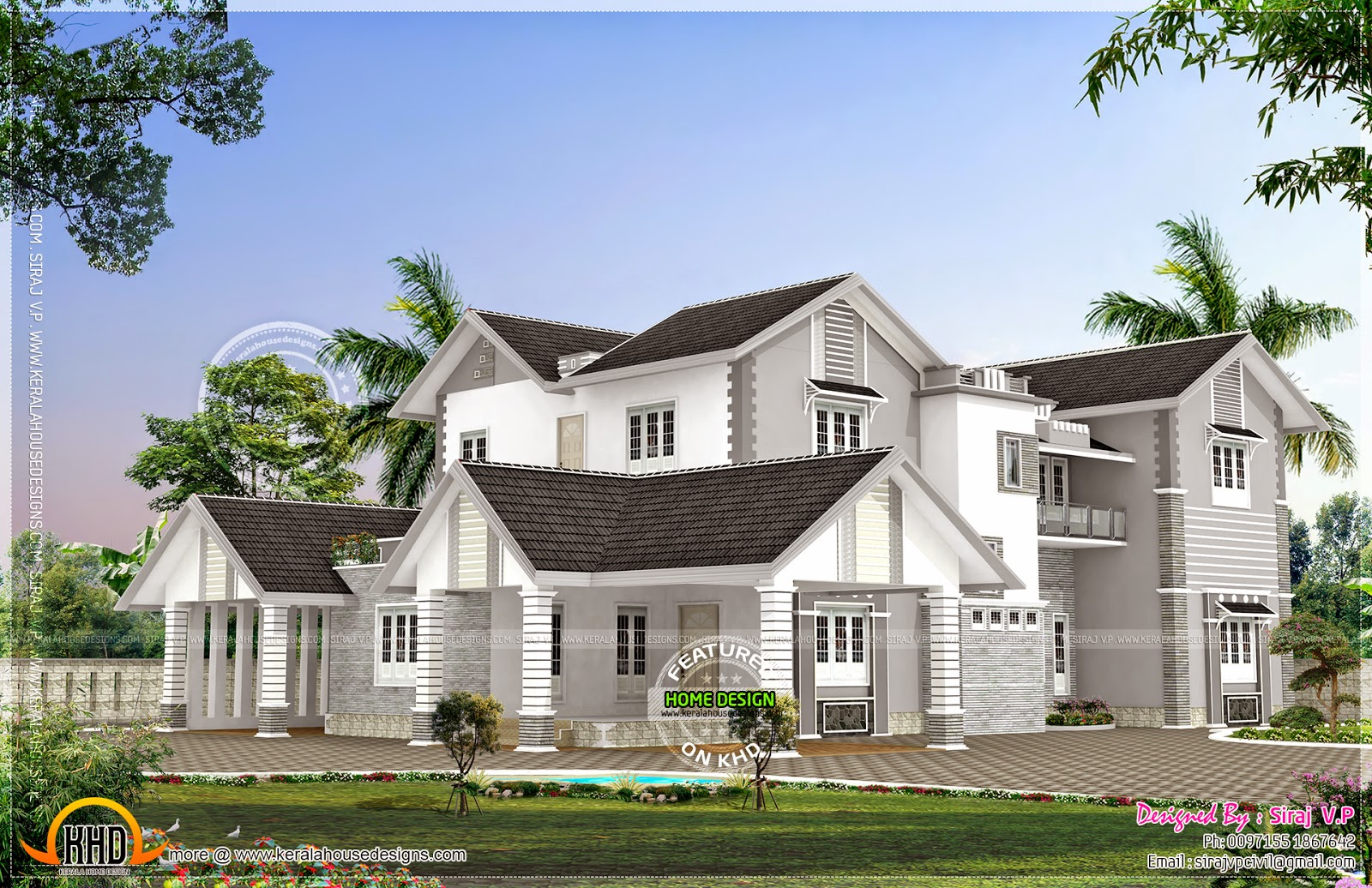 Modern Mix Kerala House Elevation In Different Colors Home Kerala Plans