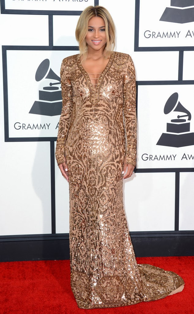 ciara at the grammys 2014 wearing a glittery pucci gown