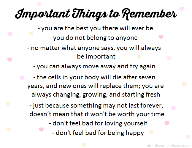 Important Things to Remember in Life Important Things to Remember