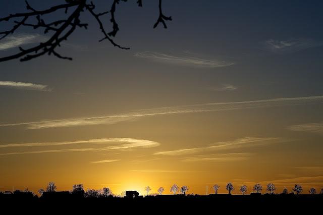 Zachód słońca, wiosna, dom, Lotyń