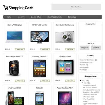 Shopping Cart blogger template. online store template for blog