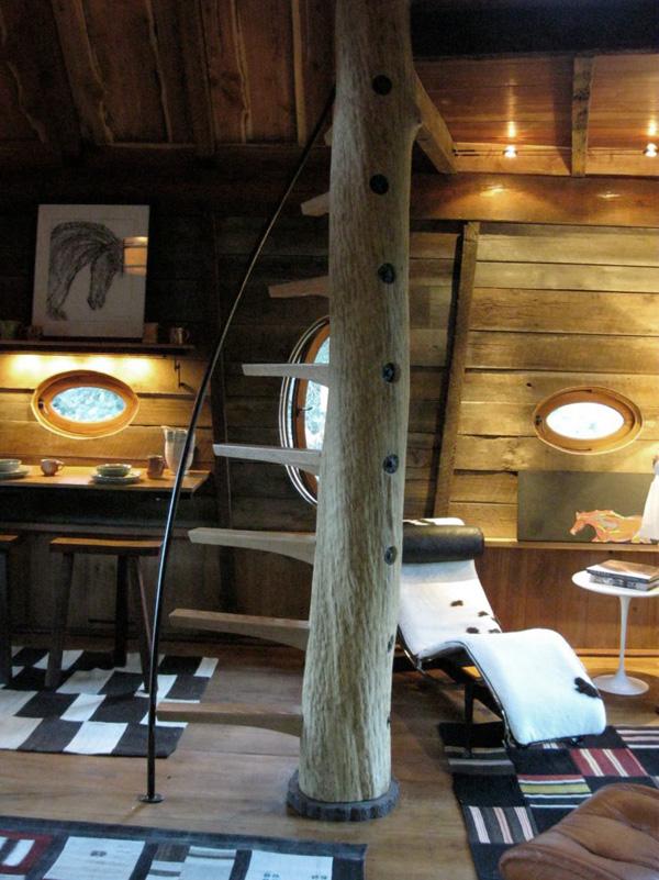 interior de diseño rustico en el refugio del bosque