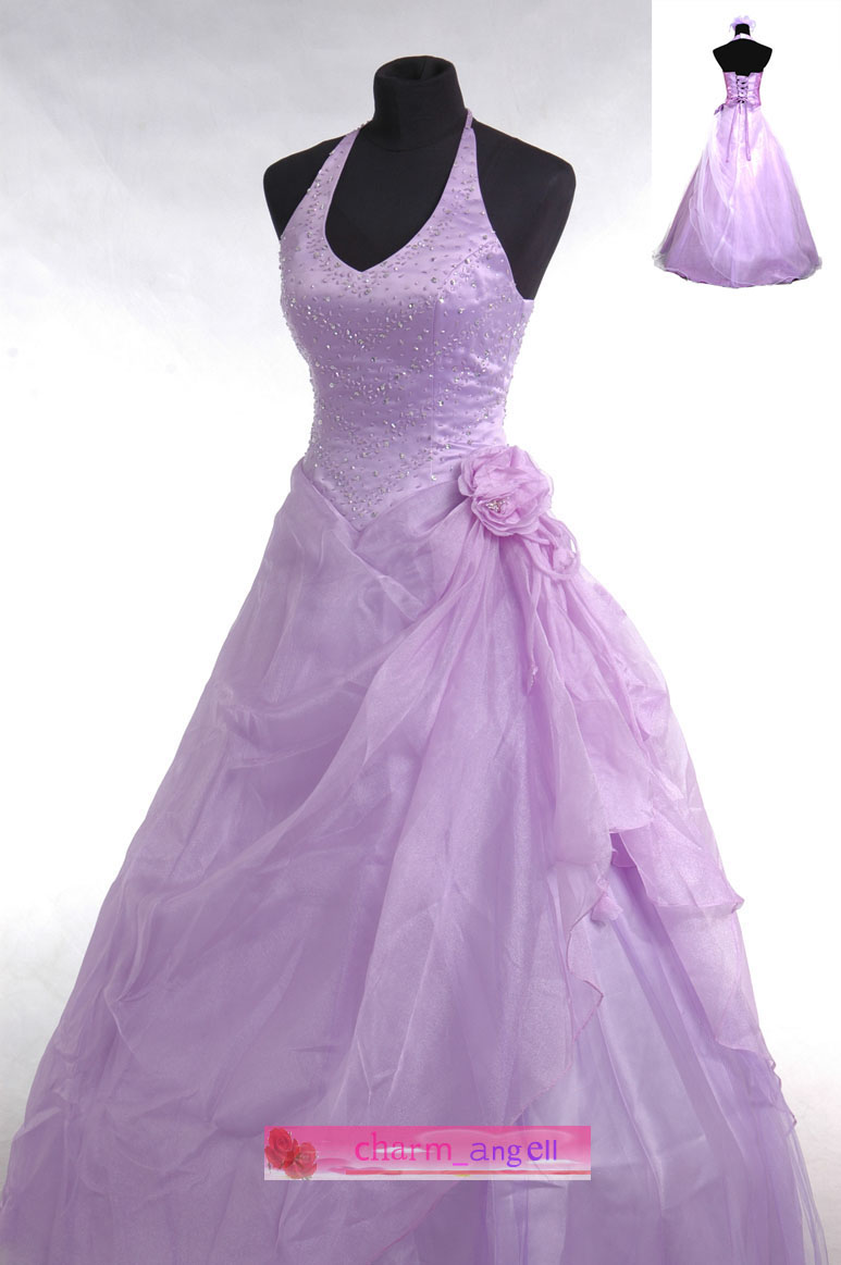 Wedding lady light purple brilliant wedding dress for Wedding dresses with purple trim