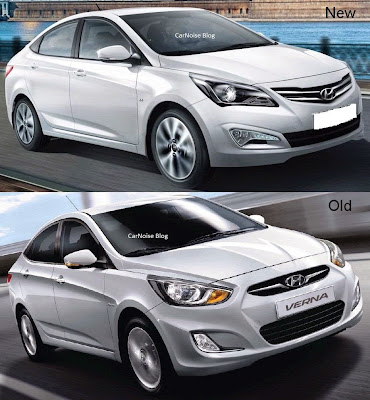 Front Comparison: 2015 Facelift Hyundai Verna - New vs Old