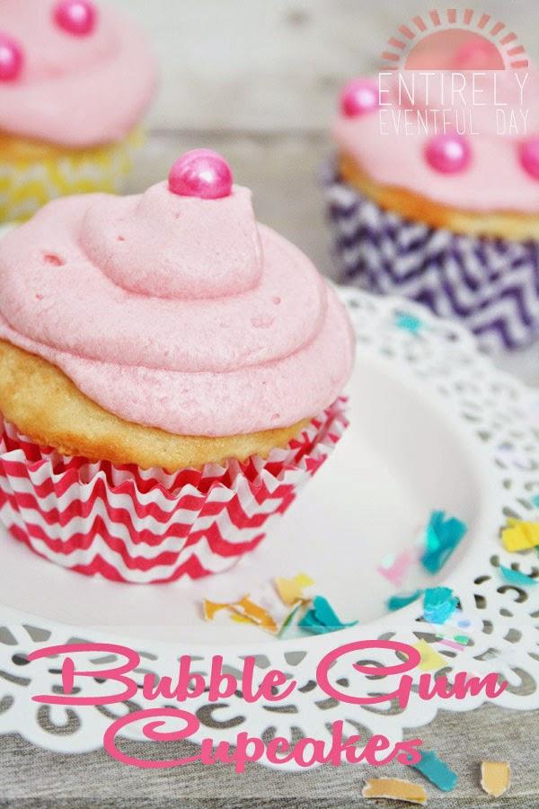 Yummy bubblegum cupcakes. Love this recipe. www.entirelyeventfulday.com #cupcakes #bubblegum