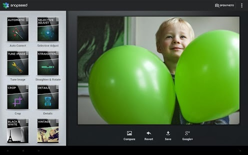 صورة توضح التطبيق و تعديل الصور Snapseed