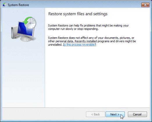 windows 7 system restore wizard