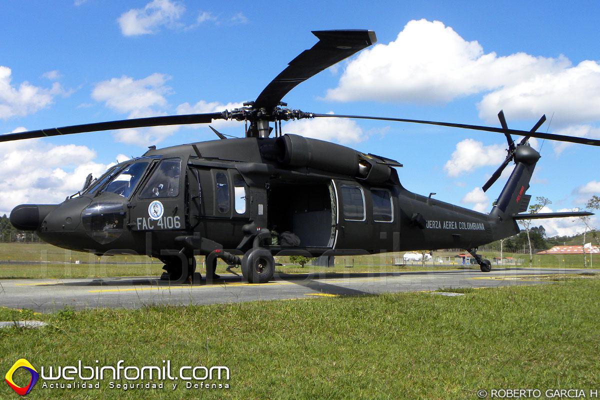 El FAC4106, primer helicóptero UH-60 Black Hawk modernizado en Colombia de la versión Alpha a Lima.