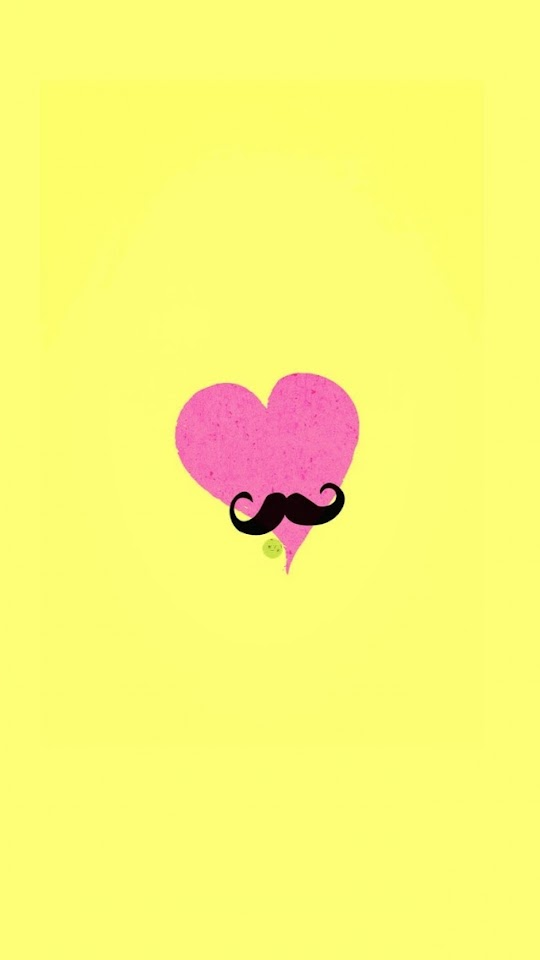 Pink Heart with Mustache   Galaxy Note HD Wallpaper
