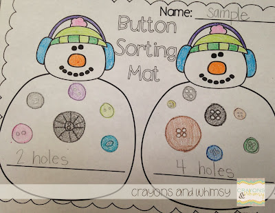 Crayons and Whimsy Snowman Button Sorting
