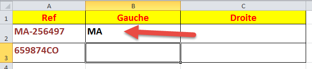 نتيجة تطبيق الدالة Gauche