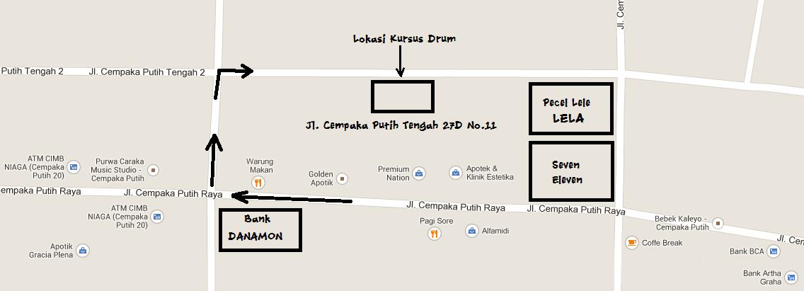 Denah Lokasi Les Drum Iman Prabawa
