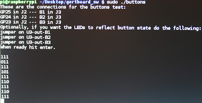 Running the buttons test on screen with the output shown