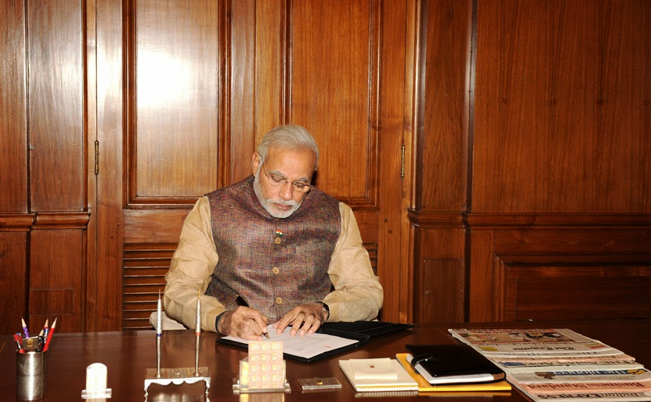Prime Minister Narendra Modi in his office at South Block on 27th May 2014