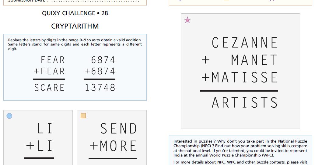 Cryptarithmetic puzzle solver