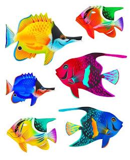 Banco de imgenes 6 ilustraciones de peces de colores  Vectores