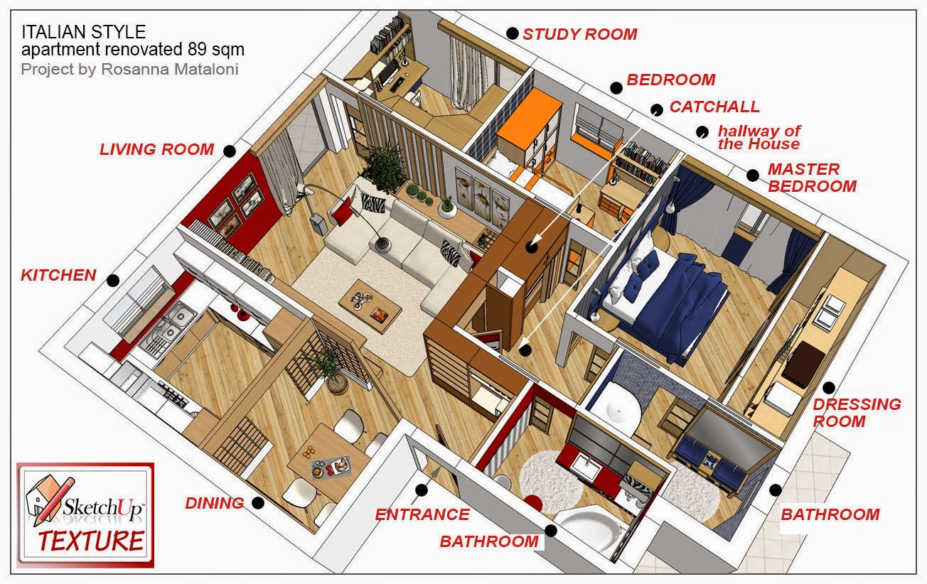 Sketchup texture sketchup model loft apartment for Apartment design models