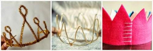 Coronas de princesa, de limpiapipas, de alambre y de fieltro