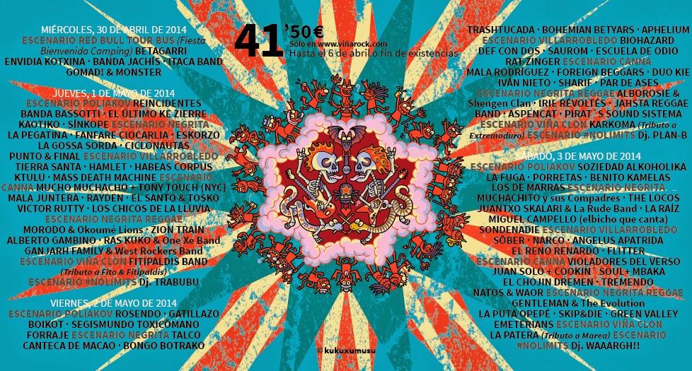 Viña Rock Festival 1, 2 y 3 de MAYO 2014 cartel completo